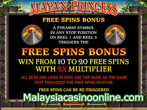 玛雅公主老虎机 (Mayan Princess Slot) - Free Spin Bonus